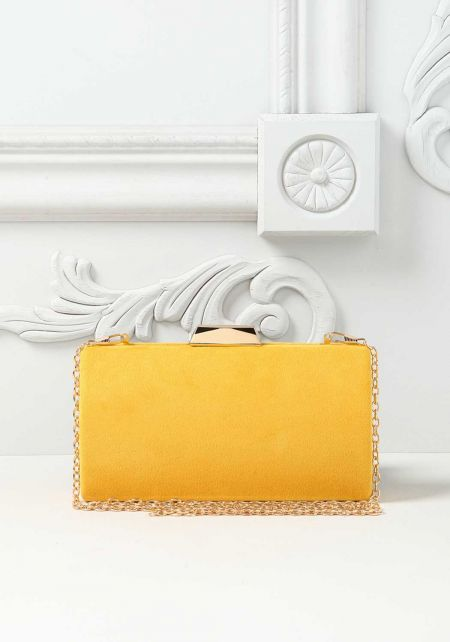 Yellow Suedette Clutch