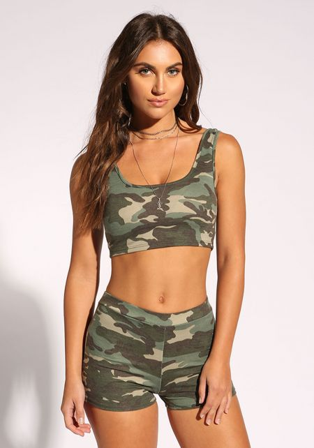 Camouflage Scoop Crop Top