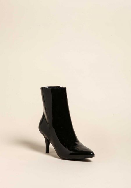 Black Patent Leatherette Pointed Toe Booties