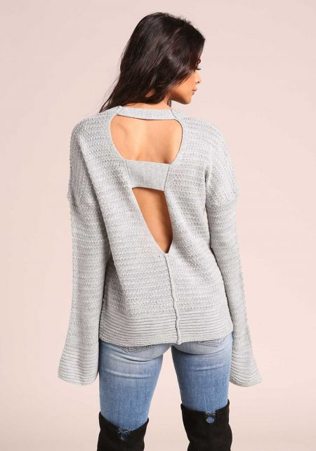 Heather Grey Back Cut Out Sweater Top