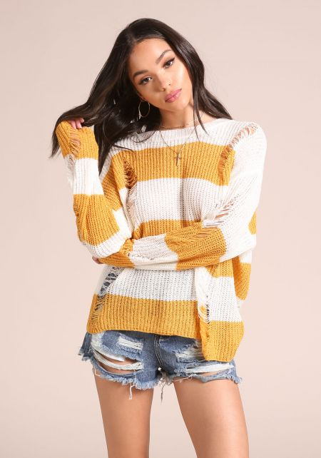 Mustard Distressed Stripe Sweater Top