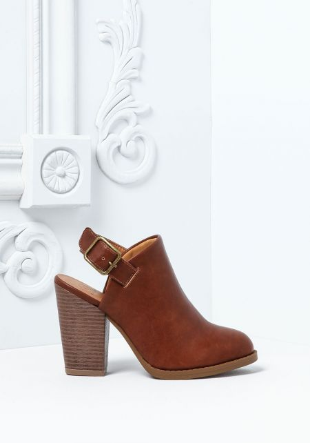 Tan Ankle Strap Leatherette  Booties