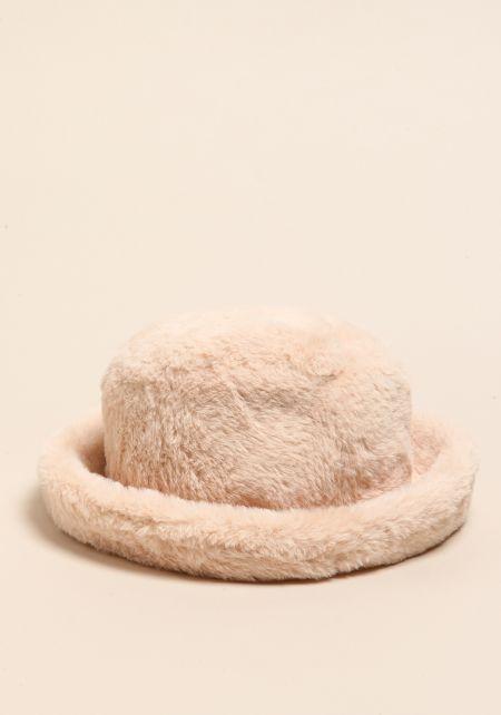 Natural Faux Fur Bucket Hat