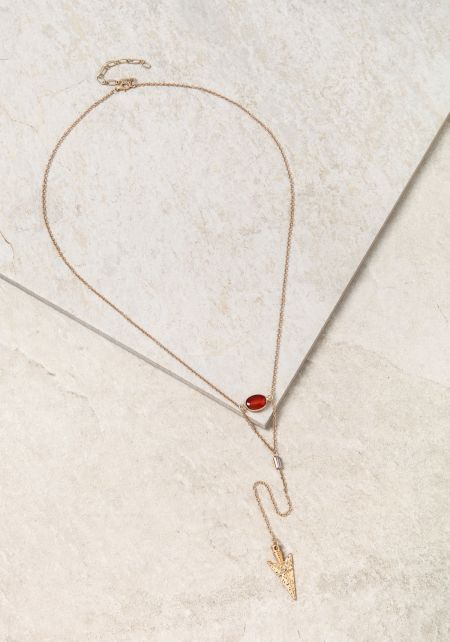 Red Arrow & Stone Delicate Necklace
