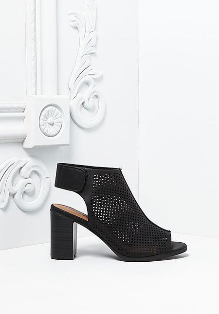 Black Leatherette Laser Cut Back Strap Heels