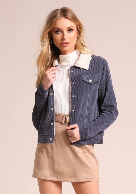 Dusty Blue Corduroy Faux Shearling Jacket