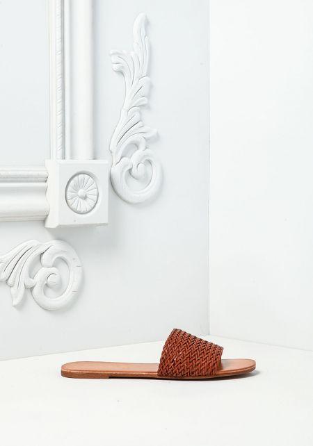 Tan Leatherette Criss-Cross Slide Sandals
