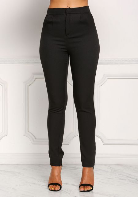 Black High Rise Skinny Dress Pants