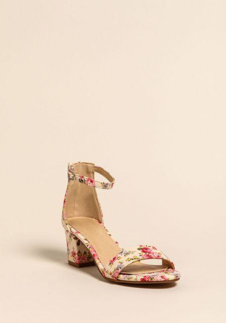 Floral Short Ankle Strap Heels