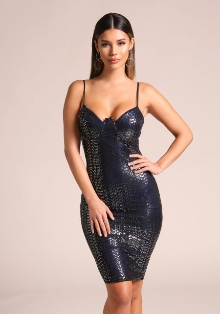 Black Sequin Bustier Bodycon Dress