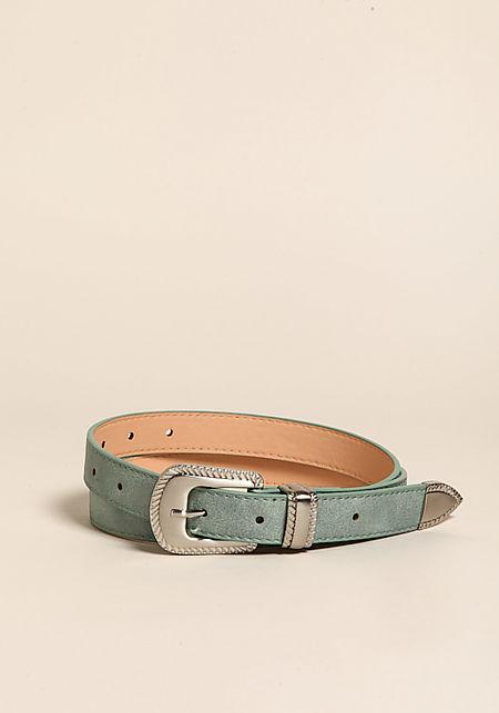 Sage Engraved Buckle Leatherette Belt
