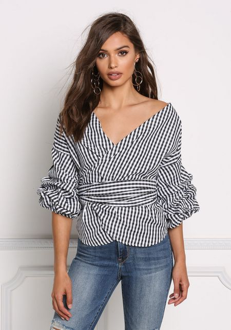 Black and White Gingham Wrap Ruched Sleeve Blouse