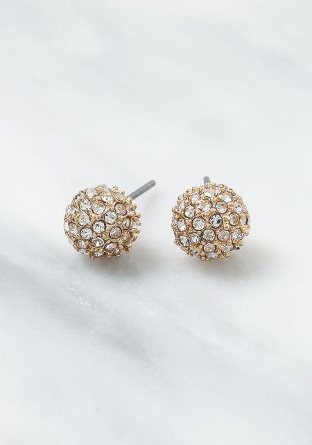 Gold Round Rhinestone Earrings