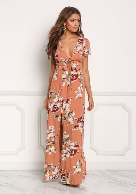 Deep Peach Floral Crepe Slit Tie Front Maxi Dress