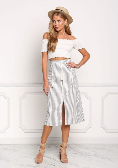 Ivory and Navy Pinstripe A-Line Skirt