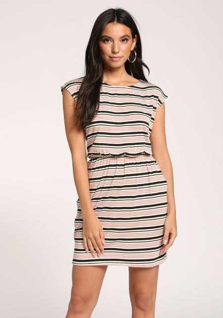 Mauve Stripe Pocket Dress