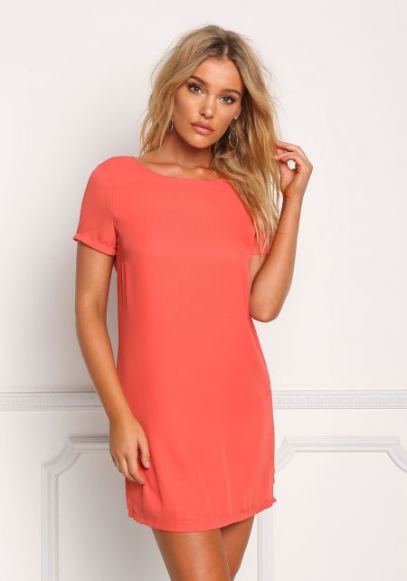 Coral Basic Shift Dress