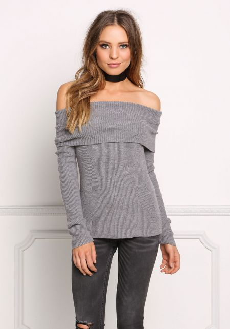 Heather Grey Fold Over Off Shoulder Thick Sweater