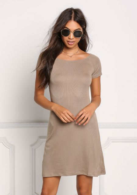 Taupe Ribbed Knit Shift Dress