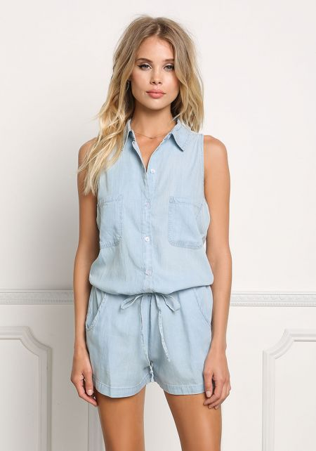 Light Denim Collared Button Down Romper