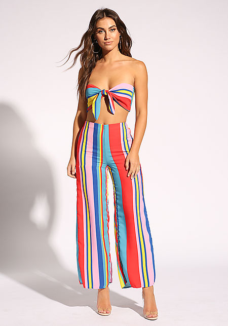 Multi Stripe High Rise Palazzo Pants