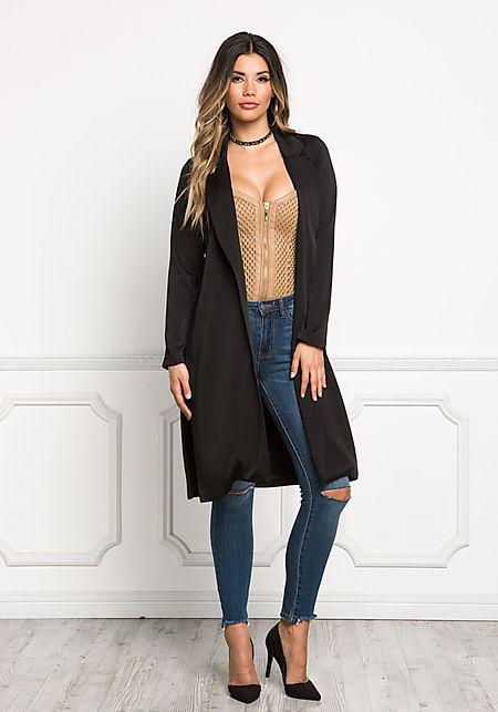 Black Longlined High Slit Blazer