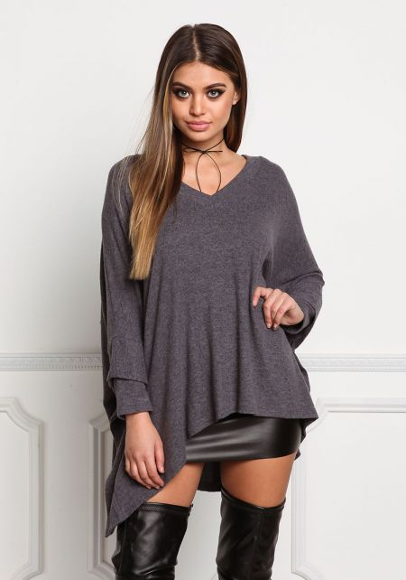 Charcoal Soft Knit Pointed Sweater Top