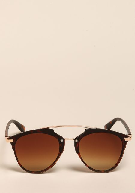 Brown Curved Aviator Club Master Sunglasses
