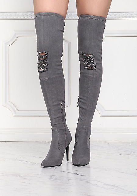 Grey Denim Pointed Over The Knee Boots
