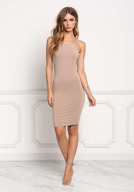 Mocha Solid Jersey Knit Bodycon Dress