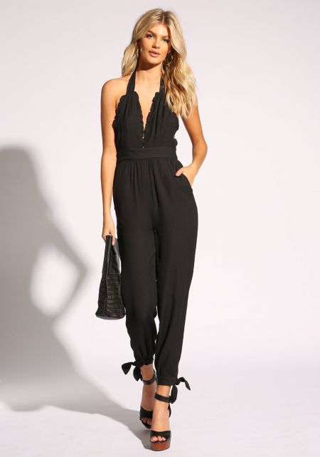 Black Ruched Halter Plunge Jumpsuit
