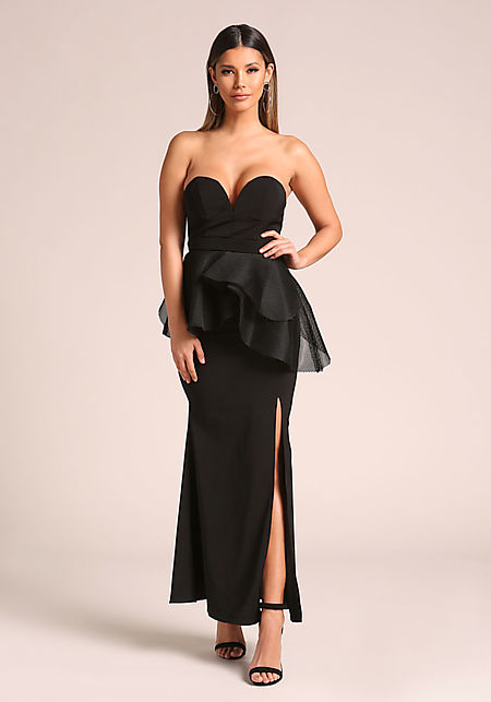 Black Sweetheart Peplum Slit Maxi Gown
