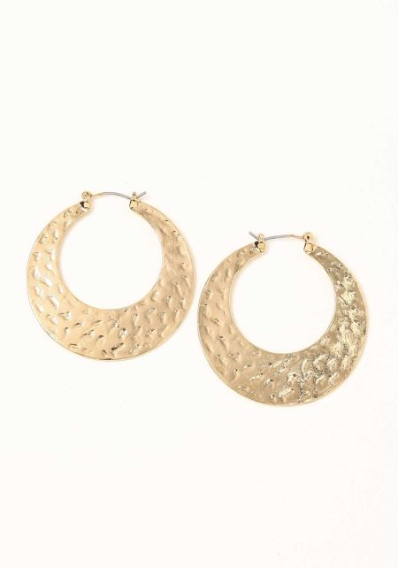 Gold Textured Thick Hoop Earrings