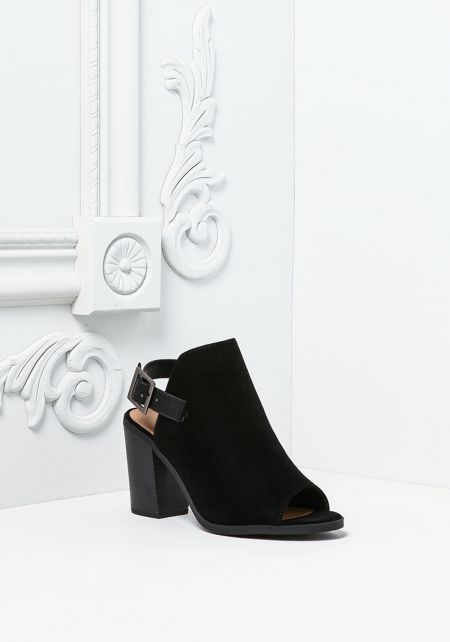 Black Suedette Peep Toe Backless Booties