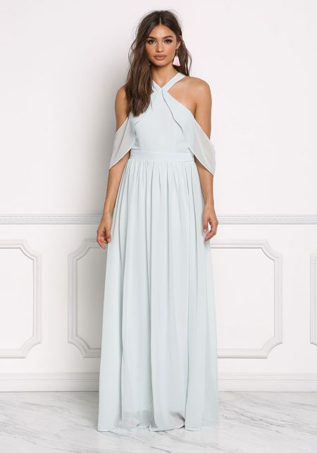 Shell Green Chiffon Cold Shoulder Maxi Gown