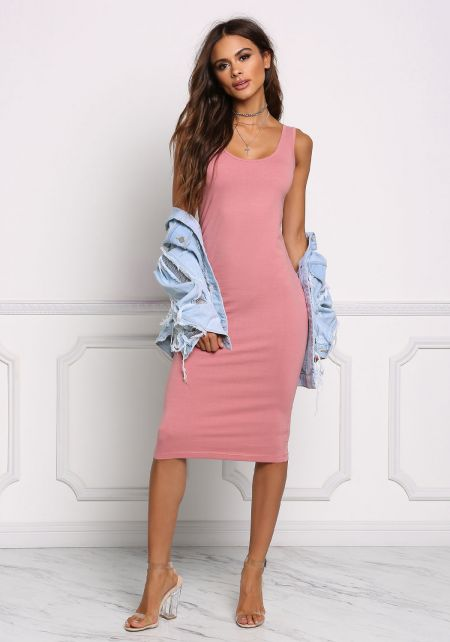 Dusty Pink Basic Jersey Knit Midi Dress