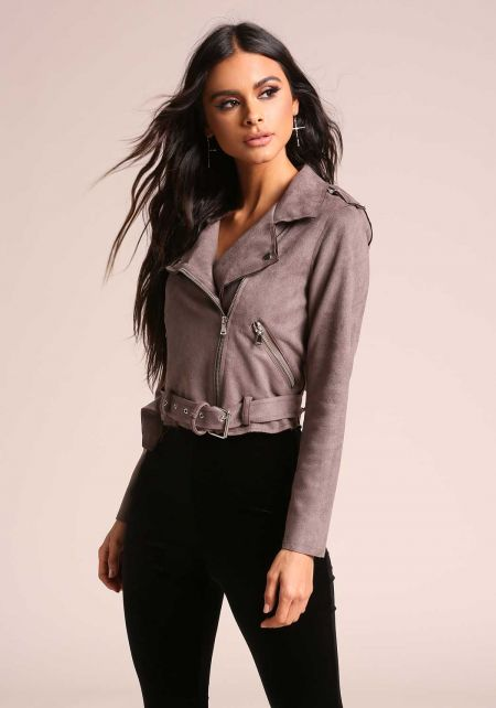 Stone Belted Suedette Cropped Moto Jacket