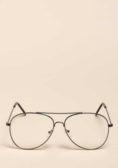 Black Thin Frame Clear Aviator Glasses