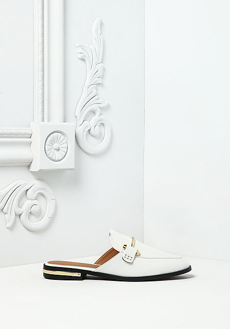 White Leatherette Loafer Slides