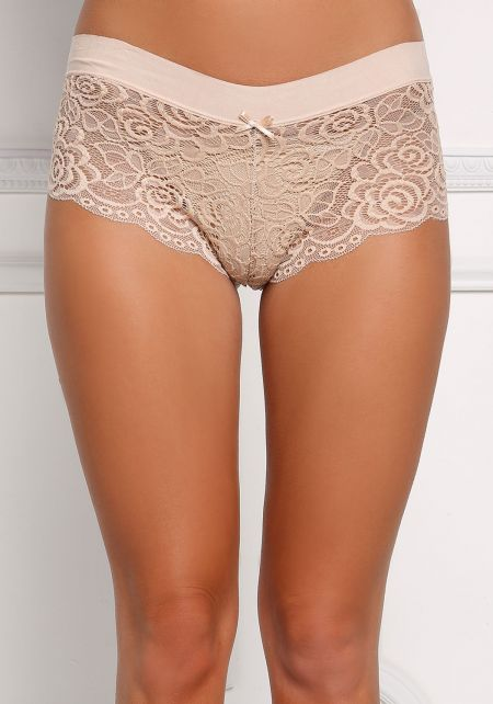 Nude Floral Lace Brief Panties