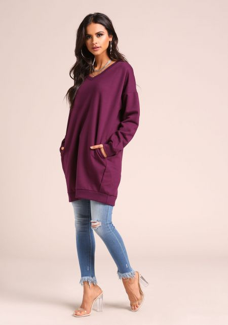 Plum Pullover Pocket Sweater Shift Dress