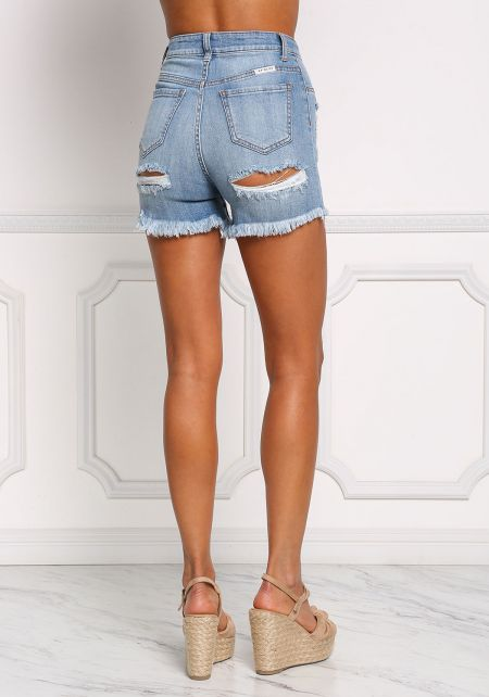 Light Denim Back Cut Out Distressed Shorts