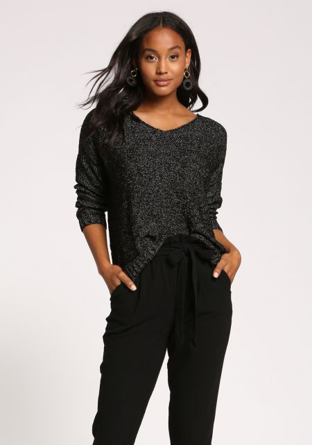 Black Marled Knit Pullover Sweater Top