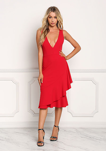 Red Ruffle Layered Plunge V Dress