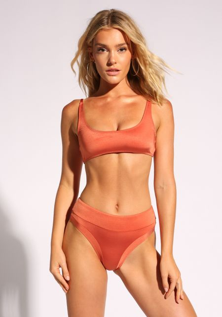 Copper High Rise Metallic Swimsuit Bikini Bottoms