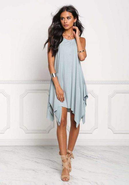 Dusty Blue Pointed Ribbed Knit Shift Dress