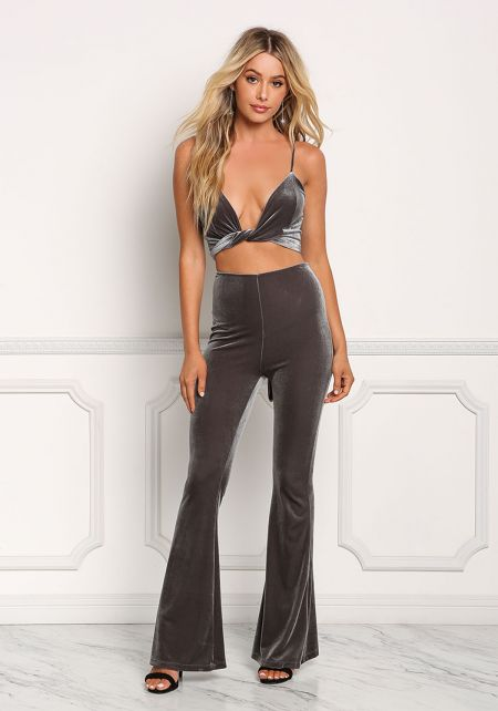 Charcoal Velvet Bell Bottom Pants