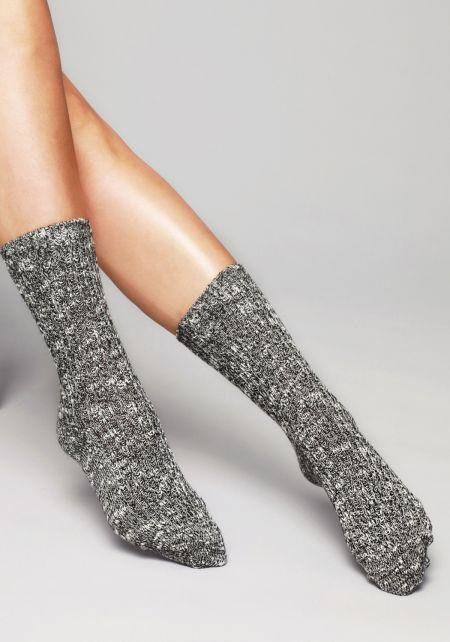 Black and White Marled Knit Crew Socks