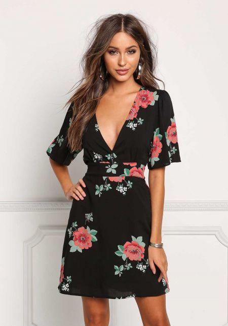 Black Plunge V Floral Waist Tie Dress