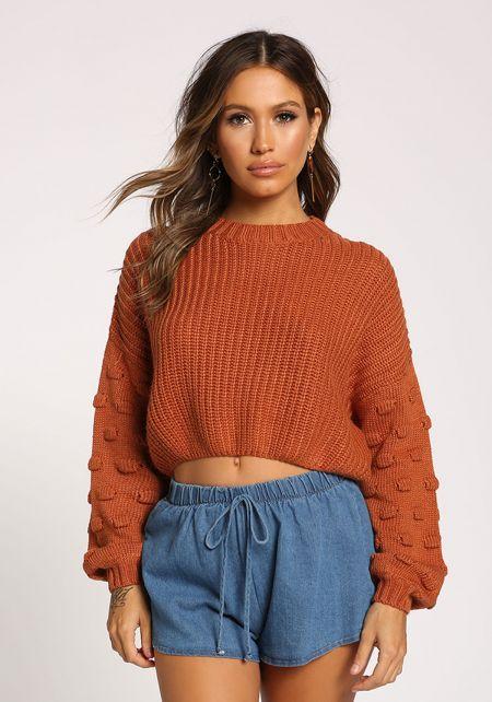 Rust Polka Dot Sleeve Cropped Sweater Top